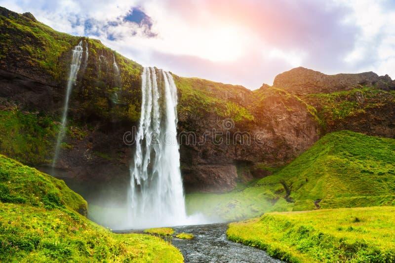 Cascade ? ?criture ligne par ligne de Seljalandsfoss en Islande photos libres de droits