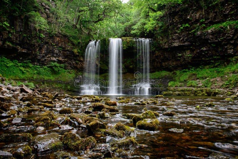 Cascade d'Eira de Scwd année au sud du pays de Galles photographie stock libre de droits