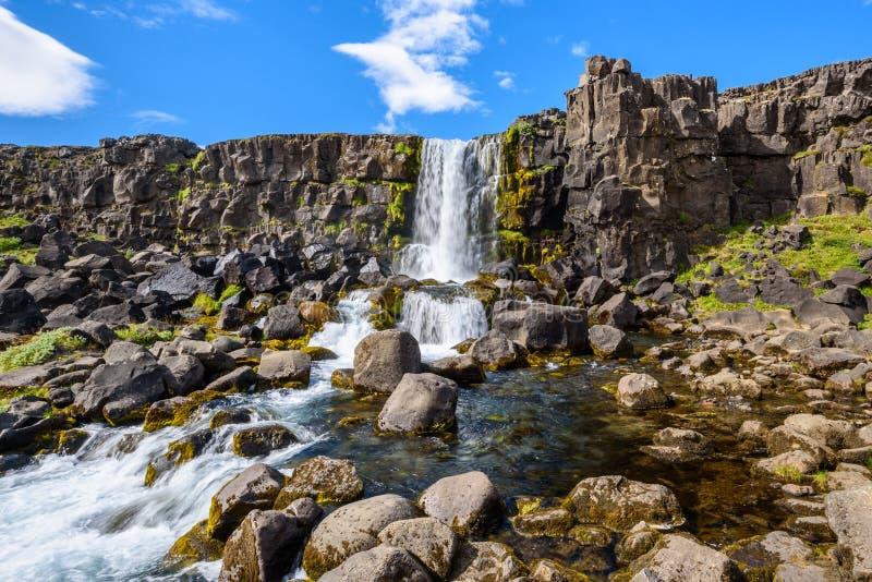 Cascade d'Oxararfoss, parc national de Thingvellir, Islande images stock