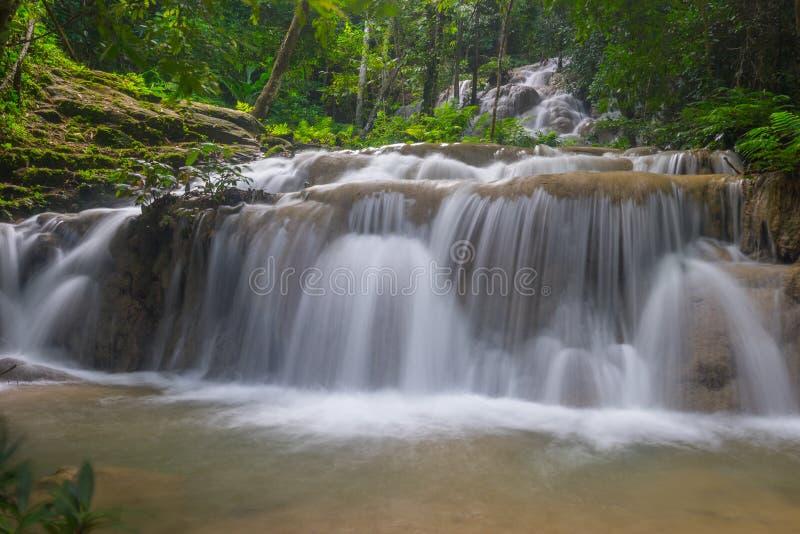 Cascade d'unité centrale Kang dans la forêt, province de Chiang Rai, Thaïlande photos stock