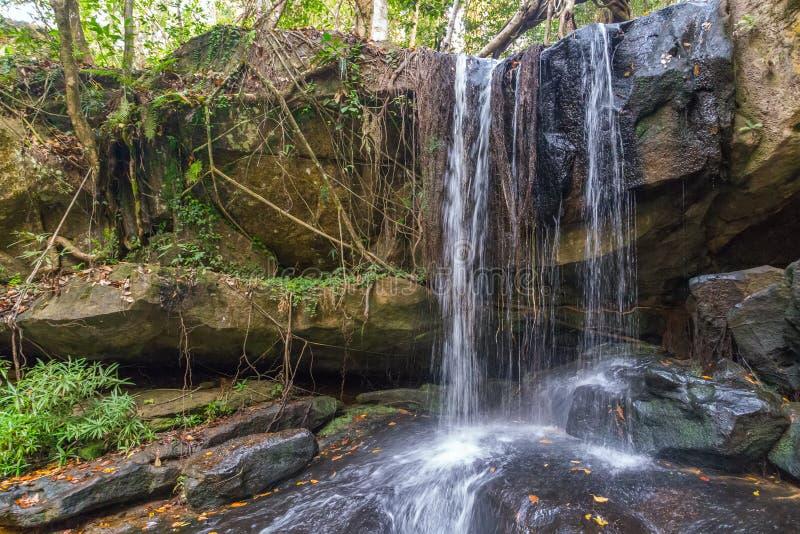 Cascade dans la forêt tropicale, parc national de Phnom Kulen photo stock