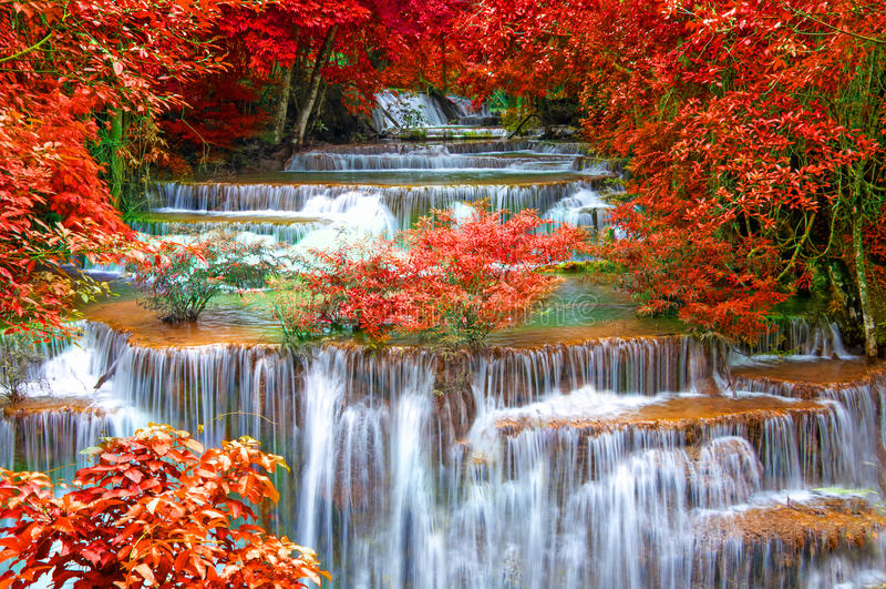 Cascade dans la jungle profonde de forêt tropicale (Huay Mae Kamin Waterfall i photos stock