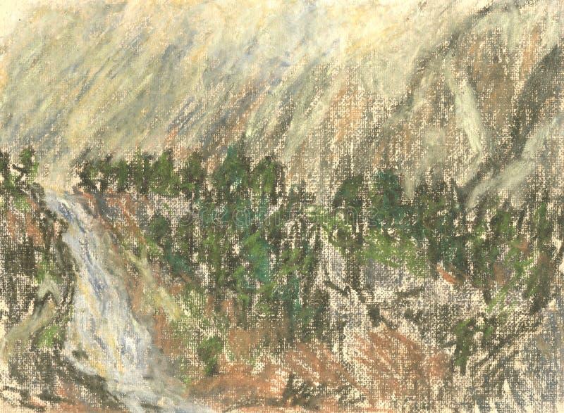 Cascade dans les montagnes, dessin en pastel de paysage de montagne illustration stock