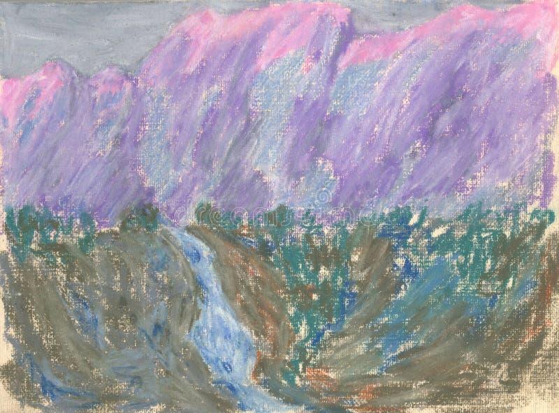 Cascade dans les montagnes, dessin en pastel de paysage de montagne illustration de vecteur