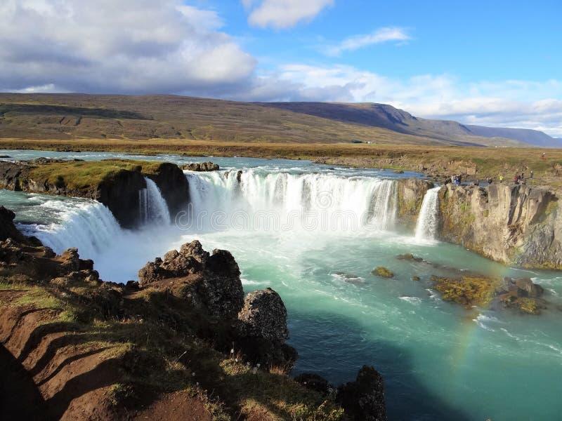 Cascade de Gullfoss avec l'arc-en-ciel photos libres de droits