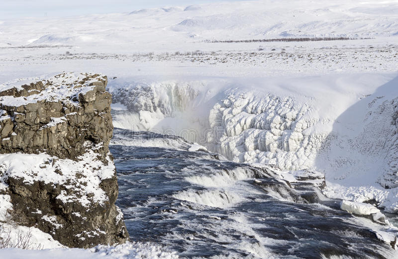 Cascade de Gullfoss en hiver photo stock