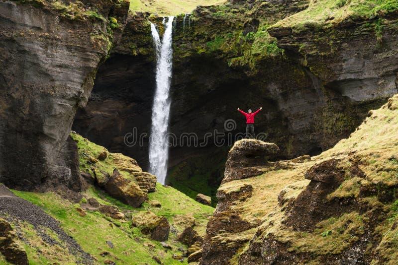 Cascade de Kvernufoss en Islande images libres de droits