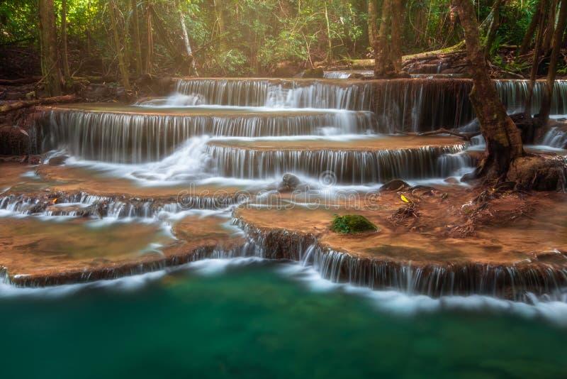 Cascade de la Thaïlande dans Kanjanaburi Huay Mae Kamin images libres de droits