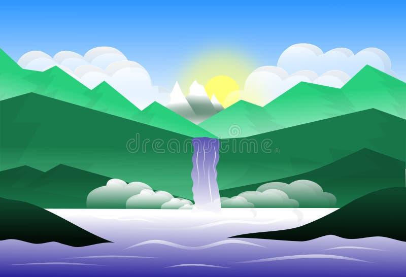 Cascade de montagne jetant dans un lac illustration libre de droits