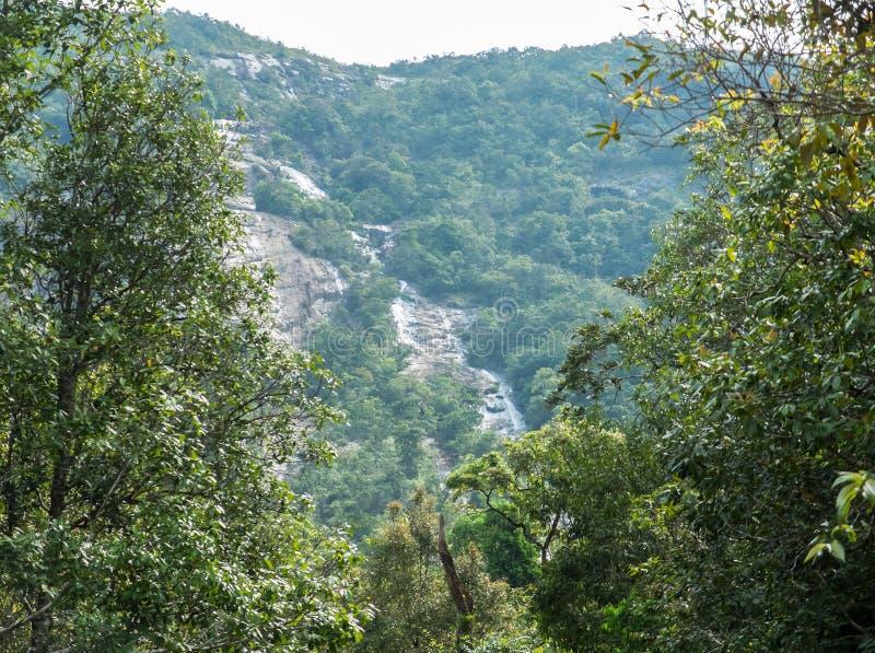 Cascade de Ngao, belle cascade scénique entourée par divers des arbres dans la forêt en parc national de Ranong, Thaïlande photos stock