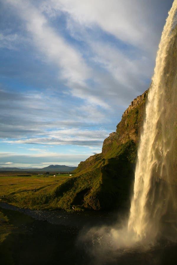 Cascade de Seljalandsfoss en Islande images libres de droits