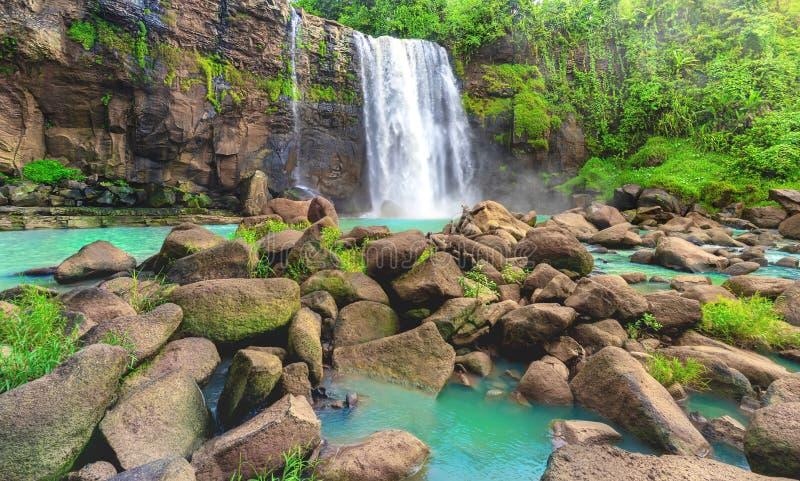 Cascade de cascade sur le courant de Cliff Flow Down The River de roche chez The Edge de forêt tropicale tropicale photo libre de droits