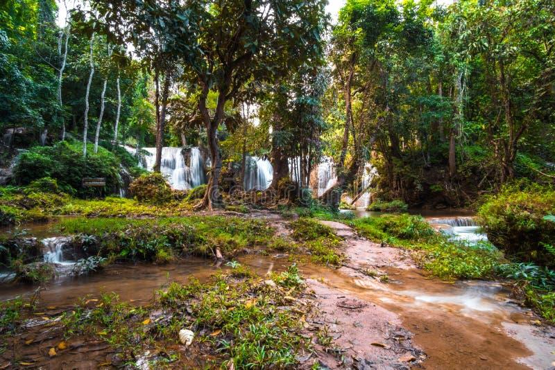 \'Cascade de Than sawan, Payao, Thaïlande, Longue explosion, Belle cascade verte dans la nature au coucher du soleil Je suis image stock
