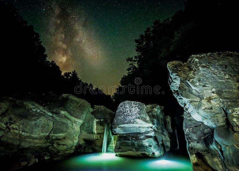 Cascade de tir de nuit d'Acquafan photos libres de droits
