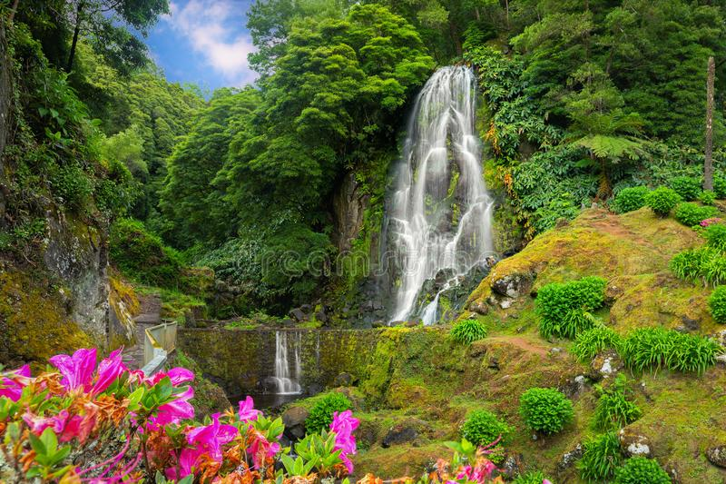 Cascade de Veu DA Noiva, île de Miguel de sao, Açores image libre de droits