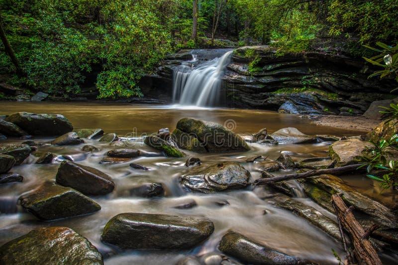 Cascade en parc d'état de roche de Tableau près des sud Carolin de Greenville image libre de droits
