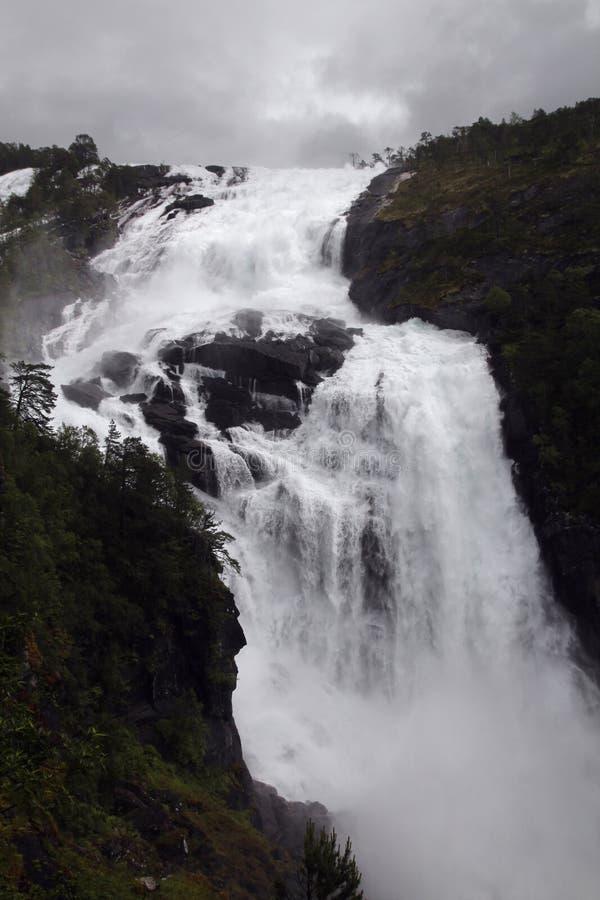 Cascade en vallée de Husedalen en parc national de Hardangervidda, Norvège photos libres de droits
