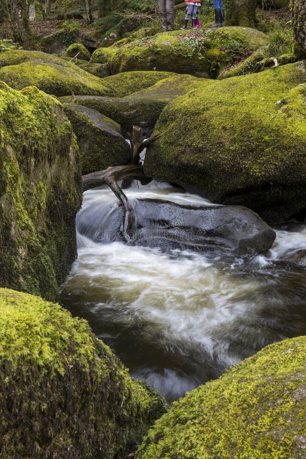 Cascade et roches moussues chez Becky Falls, Devon images stock