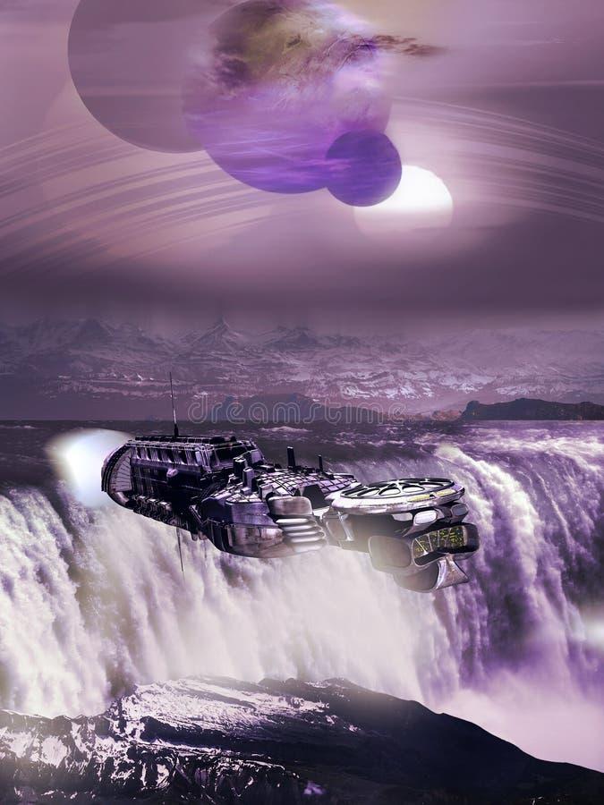 Cascade et vaisseau spatial étrangers illustration libre de droits