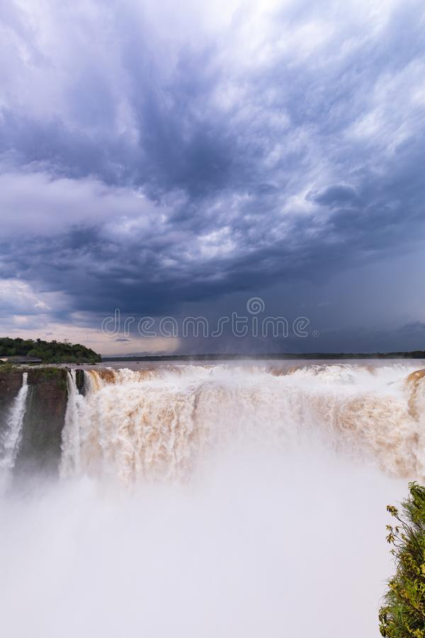 Cascade of falling water / landscape. Cascade of falling water in the Iguazu falls royalty free stock image