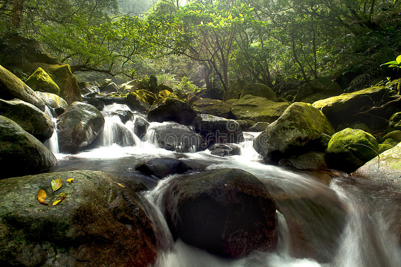 Cascade Falls Over Old Plum River With Rocks Stock Image