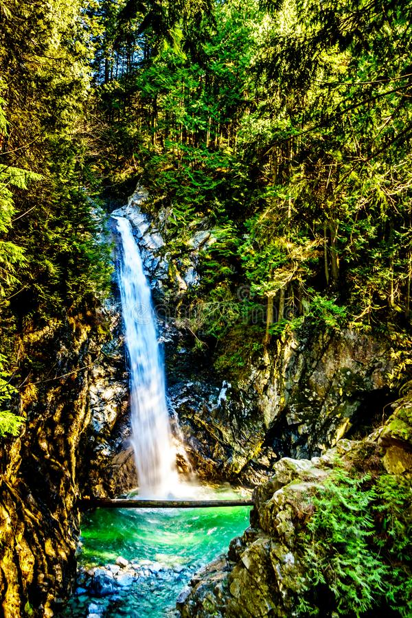 Cascade Falls in Cascade Falls Regional Park, British Columbia, royalty free stock photo