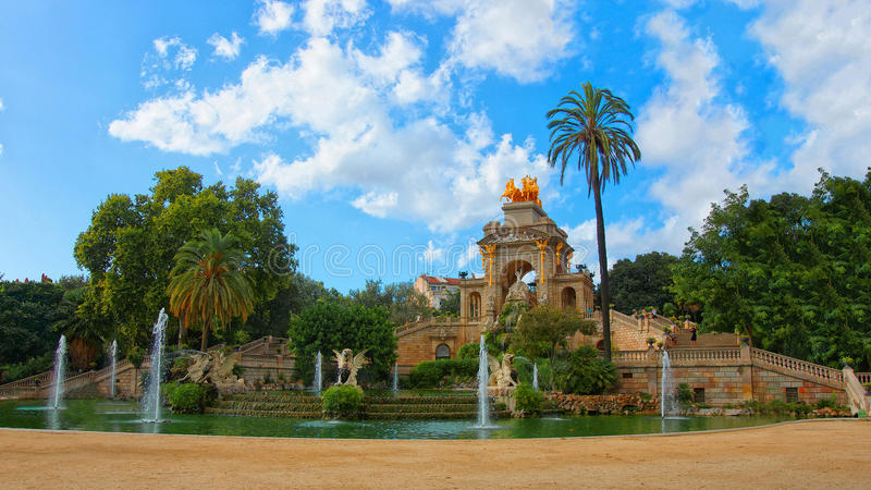Cascade Fountain in the Ciutadella Park in Barcelona stock images