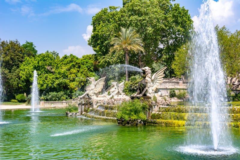 Cascade fountain in Ciutadella park, Barcelona, Spain royalty free stock photos