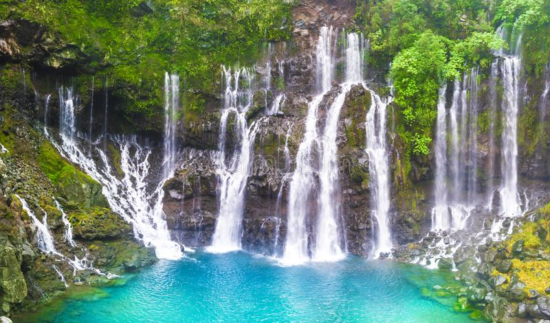 Cascade of Grand Galet, Langevin valley, La Reunion island, France royalty free stock photos