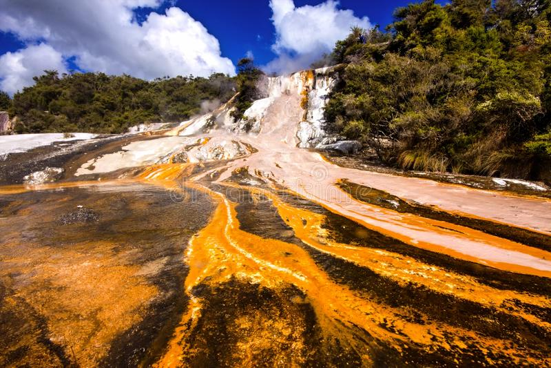 Cascade of hot mineral water Rotorua, North Island, New Zealand stock images