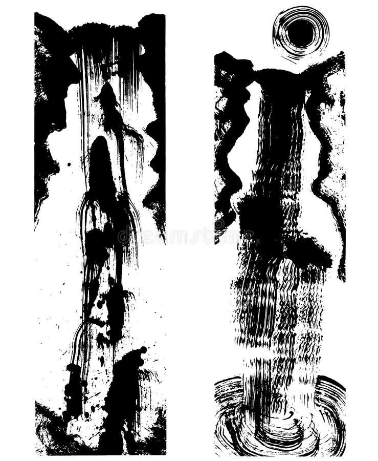 Cascade japonaise de peinture d'encre illustration stock