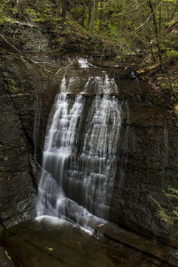Cascade - léchez le canyon de ruisseau - parc de Sweedler - Ithaca, New York photos libres de droits