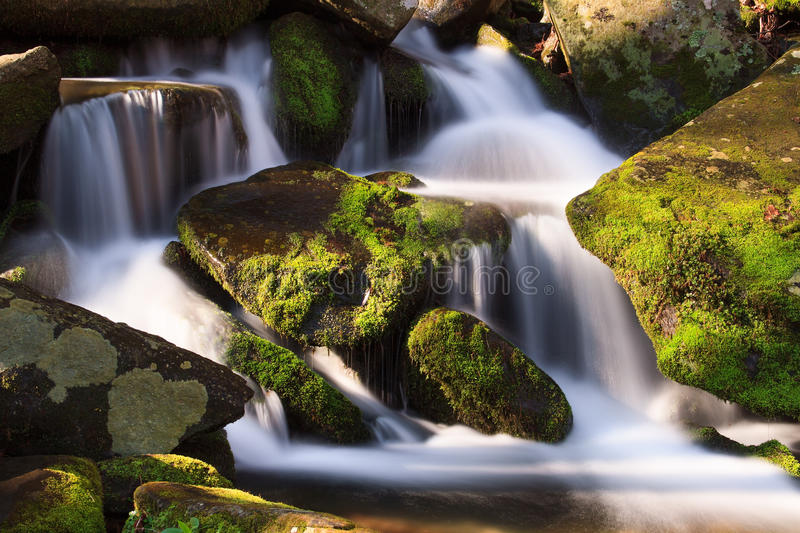 Cascade with Mossy Rocks. Water falls over a jumble of moss-covered boulders in Great Smoky Mountains National Park, Tennessee, USA royalty free stock image