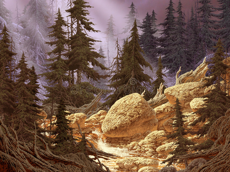 Download Cascade Mountain Stream stock illustration. Illustration of rays - 497460