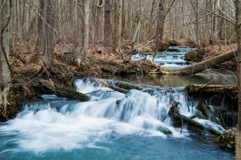 Cascade Mountain Trout Stream Waterfall - Virginia, USA. A beautiful cascading mountain trout stream located in the Alleghany Highlands of Virginia, USA stock photos