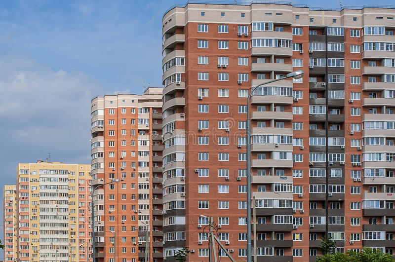 Cascade of new residential buildings royalty free stock image