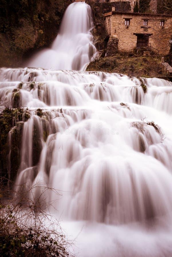 Cascade of Orbaneja del Castillo in winter stock photography