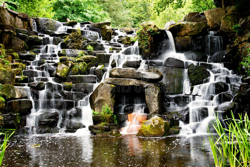 Download The Cascade, Ornamental Waterfall At Virginia Water. Stock Image - Image of cool, england: 96631677