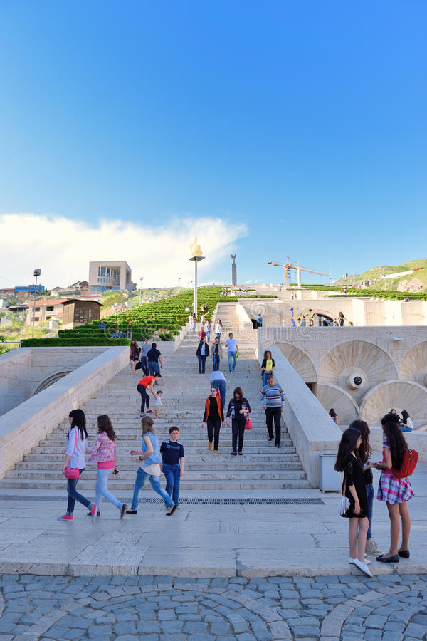 YEREVAN, ARMENIA   MAY 02, 2015: The Cascade Is A Giant Stairway And One Of  Main Landmarks In City. The Exterior Of Cascade, In Addition To Stairs Has  ...