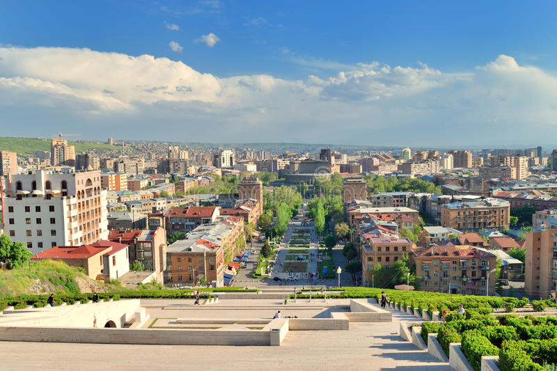 Amazing YEREVAN, ARMENIA   MAY 02, 2015: View From Cascade Which Is Giant Stairway  And One Of Main Landmarks In City. The Exterior Of Cascade, In Addition To  Stairs ...