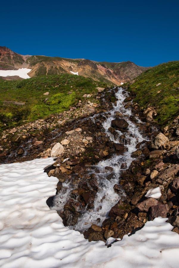 Download Cascade Sur Les Collines Du Volcan De Mutnovsky Photo stock - Image du neige, froid: 76088226
