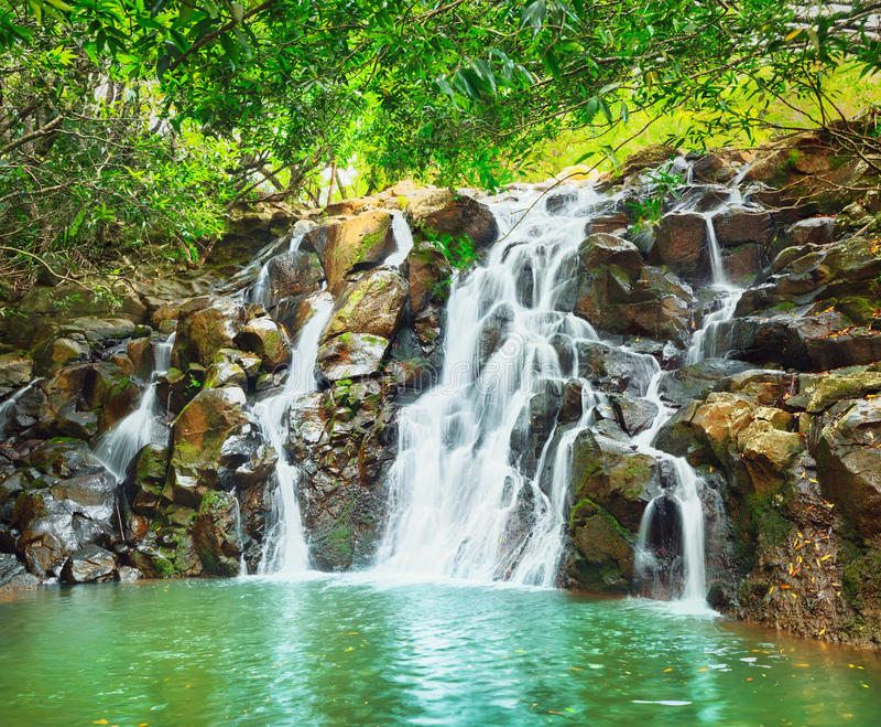 Cascade Vacoas waterfall. Mauritius. Scenic Cascade Vacoas waterfall. Mauritius island royalty free stock photos