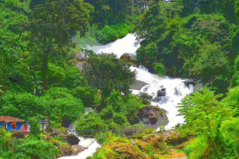 Cascade, verdure, et pont énormes - illustration de paysage de nature image libre de droits