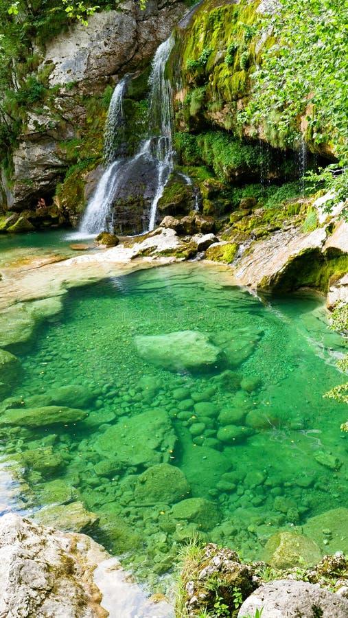 Cascade, watervaltik virje in Slovenië stock foto