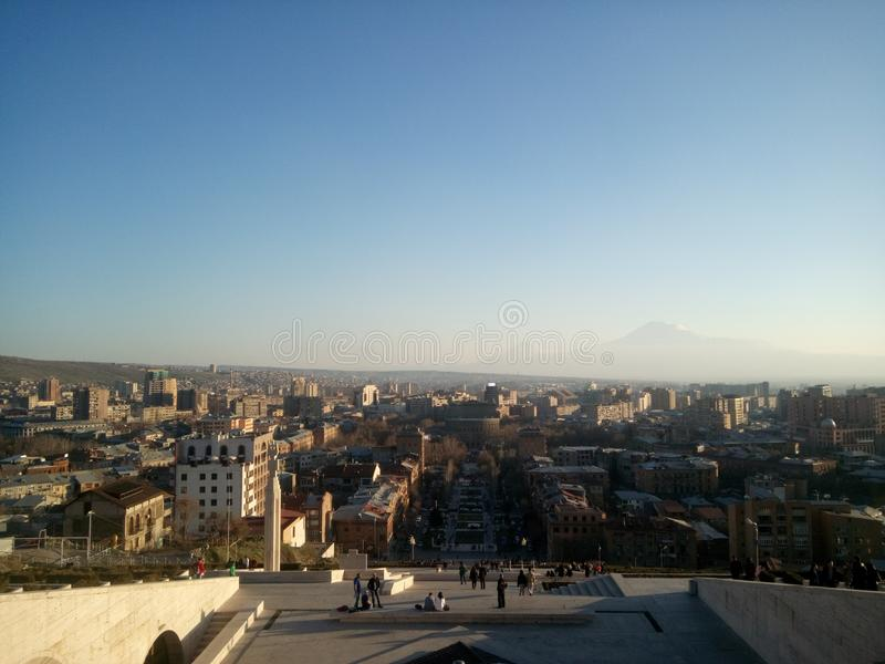 Cascade in Yerevan. Armenia. Mountain Ararat Masis from Cascade in Yerevan. With blue sky royalty free stock image