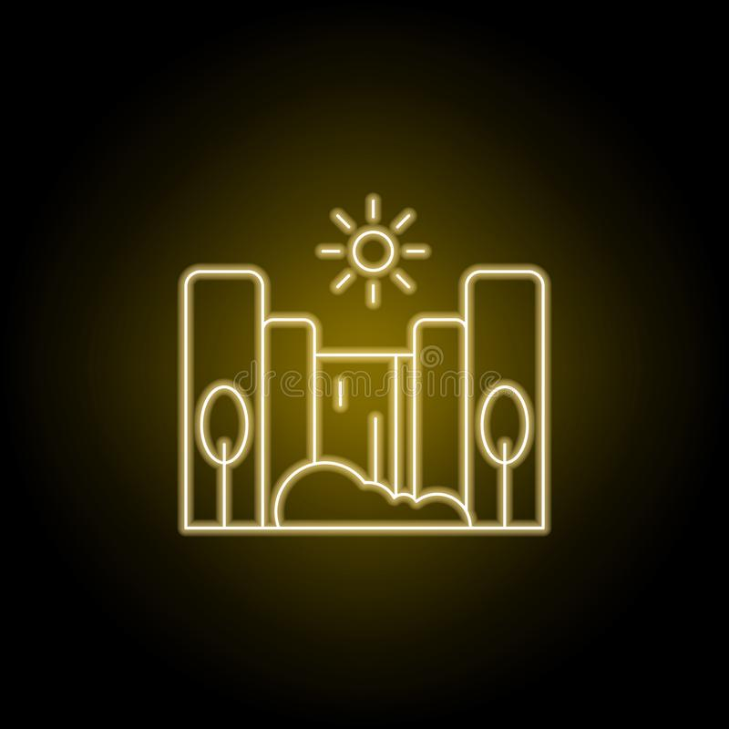 Cascade, zonnig, het pictogram van de boomlijn in gele neonstijl Element van landschappenillustratie Tekens en symbolen het lijnp vector illustratie