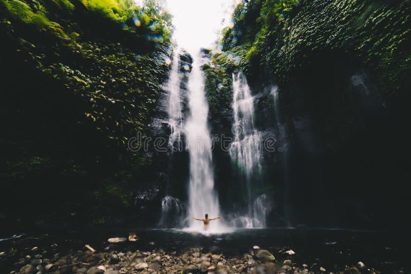 Cascades de jumeau de Banyumala de cascade de Bali image stock