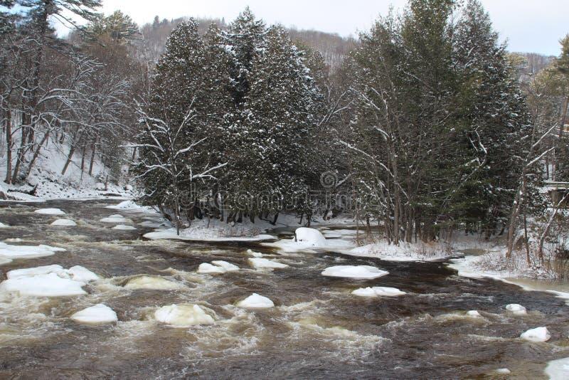Cascades de rivière pendant l'hiver photos stock