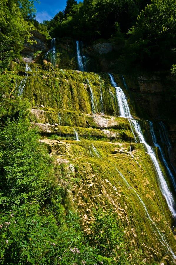 Cascades du Herisson in Frankrijk stock afbeeldingen