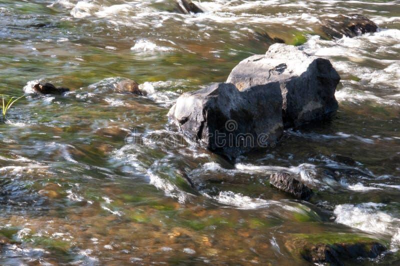 Cascades en été L'espace libre et l'eau douce tombent vers le bas Teintes de vert, de bleu et de blanc Il y a les pierres grises  photos libres de droits